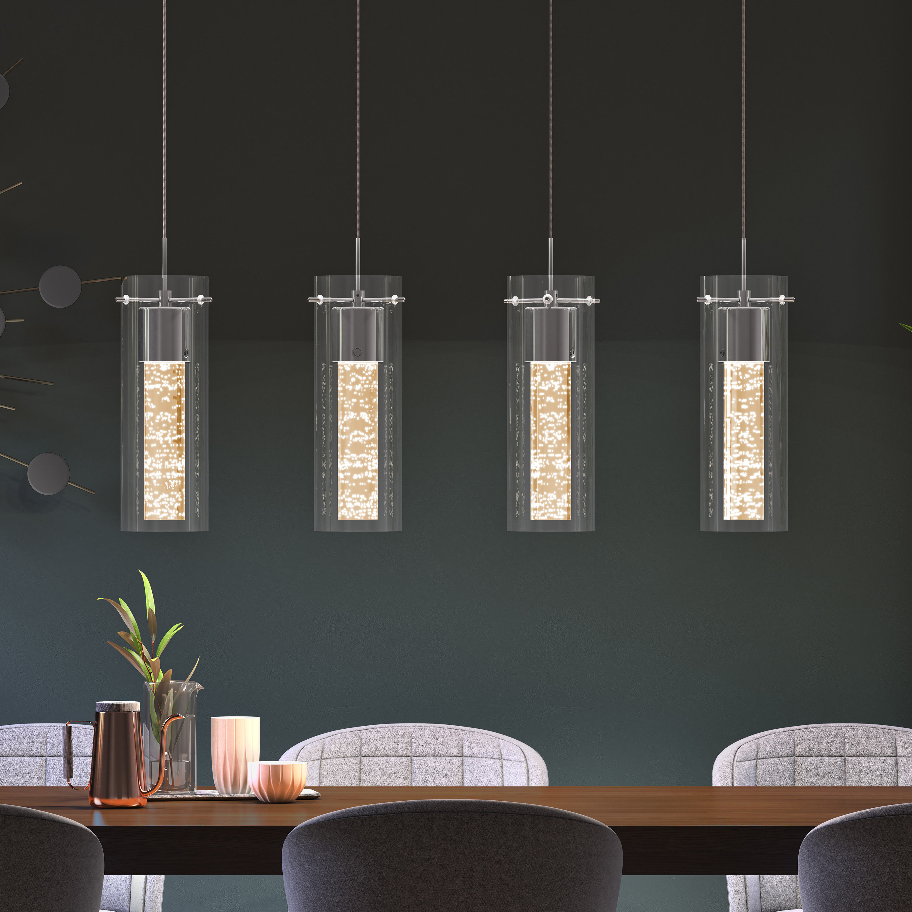 Well Known Schutt 1 Light Cylinder Pendants Pertaining To Zachery 4 Light Led Kitchen Island Cylinder Pendant (Gallery 12 of 20)