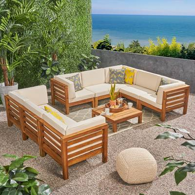 Well Known Seaham Patio Sectionals With Cushions For Seaham 9 Piece Teak Sectional Seating Group With Cushions (View 19 of 20)
