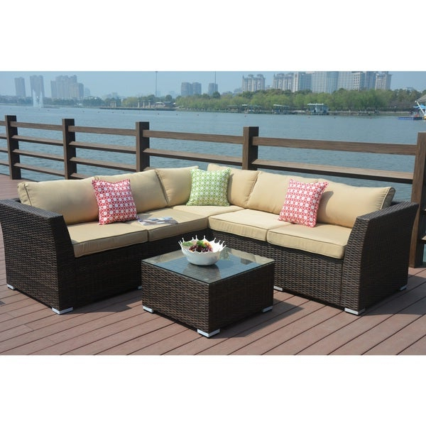 Well Known Shop Puerta Outdoor 4 Piece Wicker V Shaped Sectional Sofa Regarding Antonia Teak Patio Sectionals With Cushions (View 19 of 20)