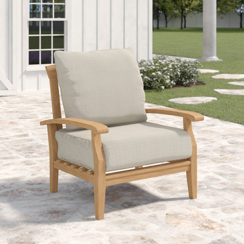 Well Known Summerton Teak Patio Chair With Cushions Pertaining To Lakeland Teak Patio Sofas With Cushions (View 18 of 20)