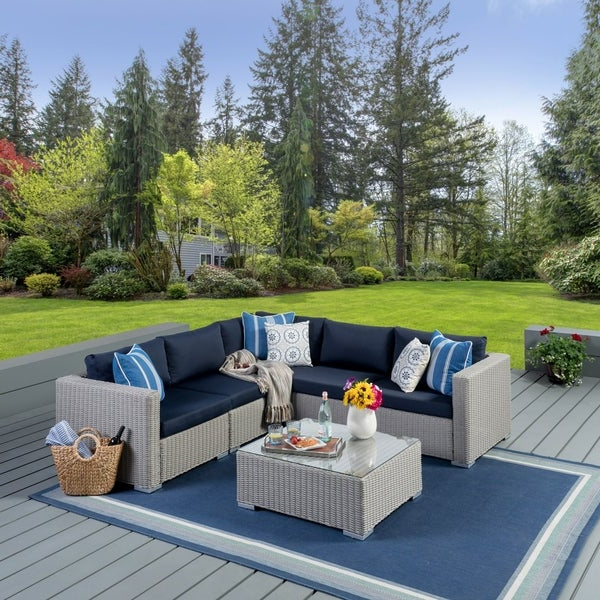 Well Known Tess Corner Living Patio Sectionals With Cushions With Regard To Shop Santa Rosa Outdoor 6 Piece Wicker Seating Sectional Set (View 13 of 20)