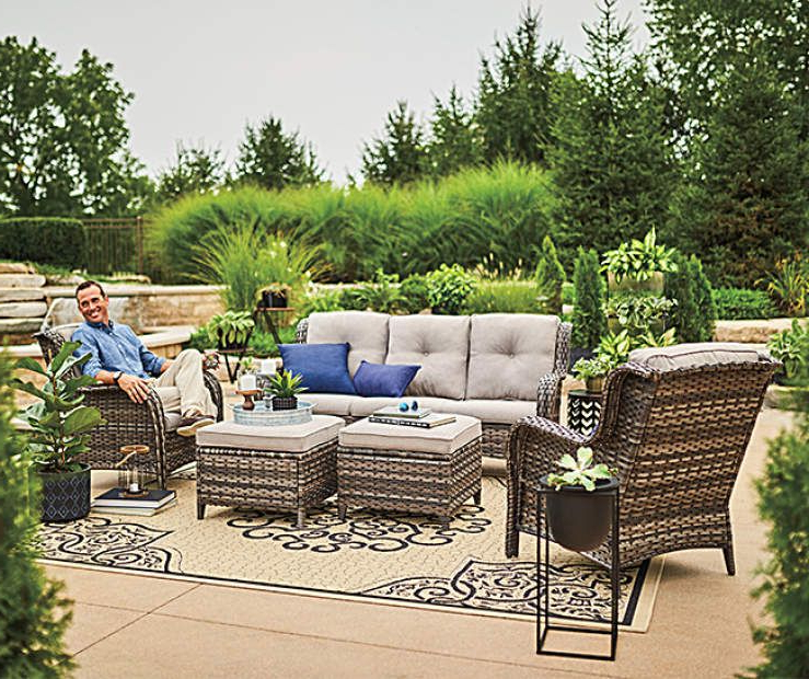 Well Known Wilson & Fisher Oakmont 5 Piece Patio Furniture Collection With Avadi Outdoor Sofas & Ottomans 3 Piece Set (Gallery 14 of 20)