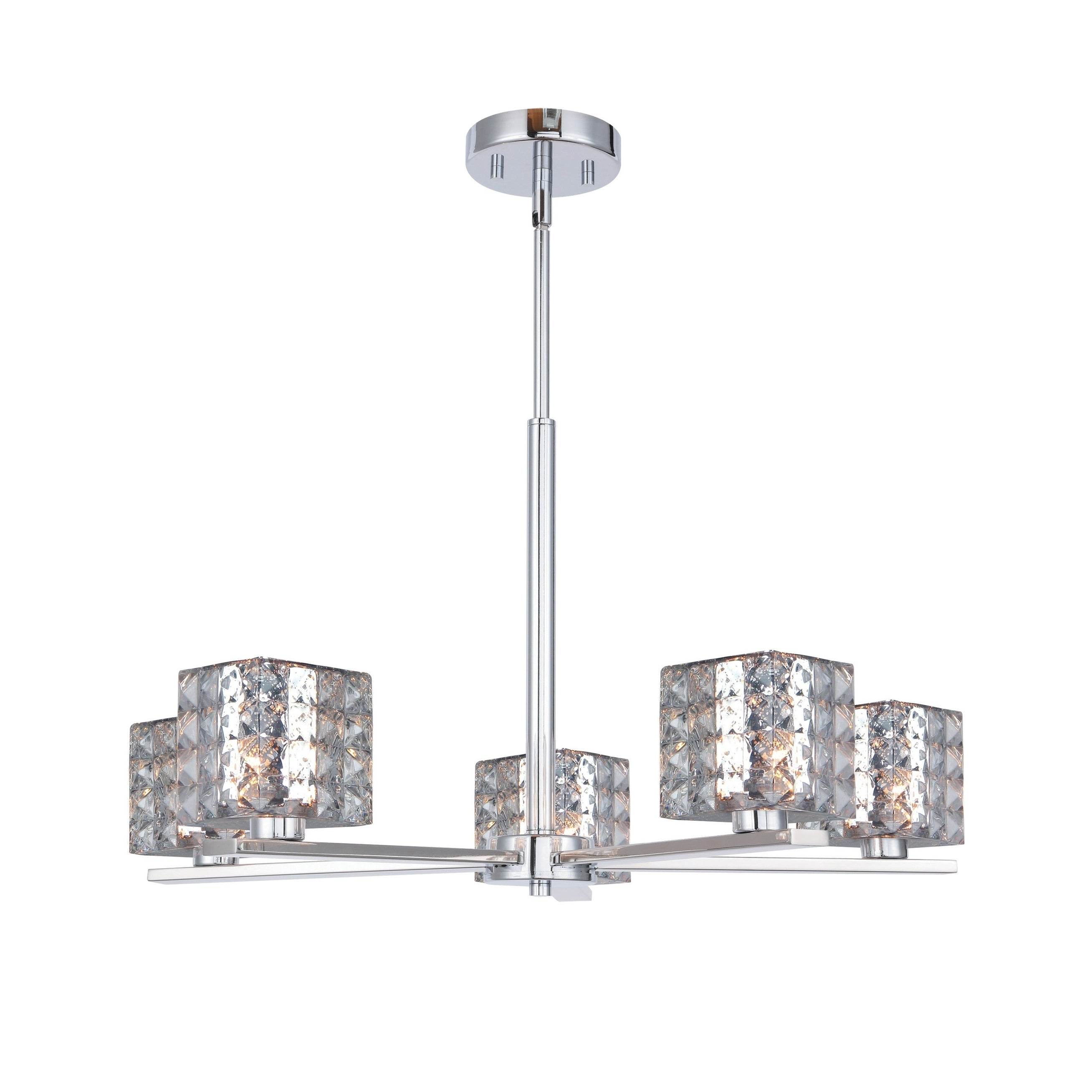 Well Known Woodbridge 17315Chrle Claudia 5L Chandelier W/ Led For Hewitt 4 Light Square Chandeliers (View 18 of 20)