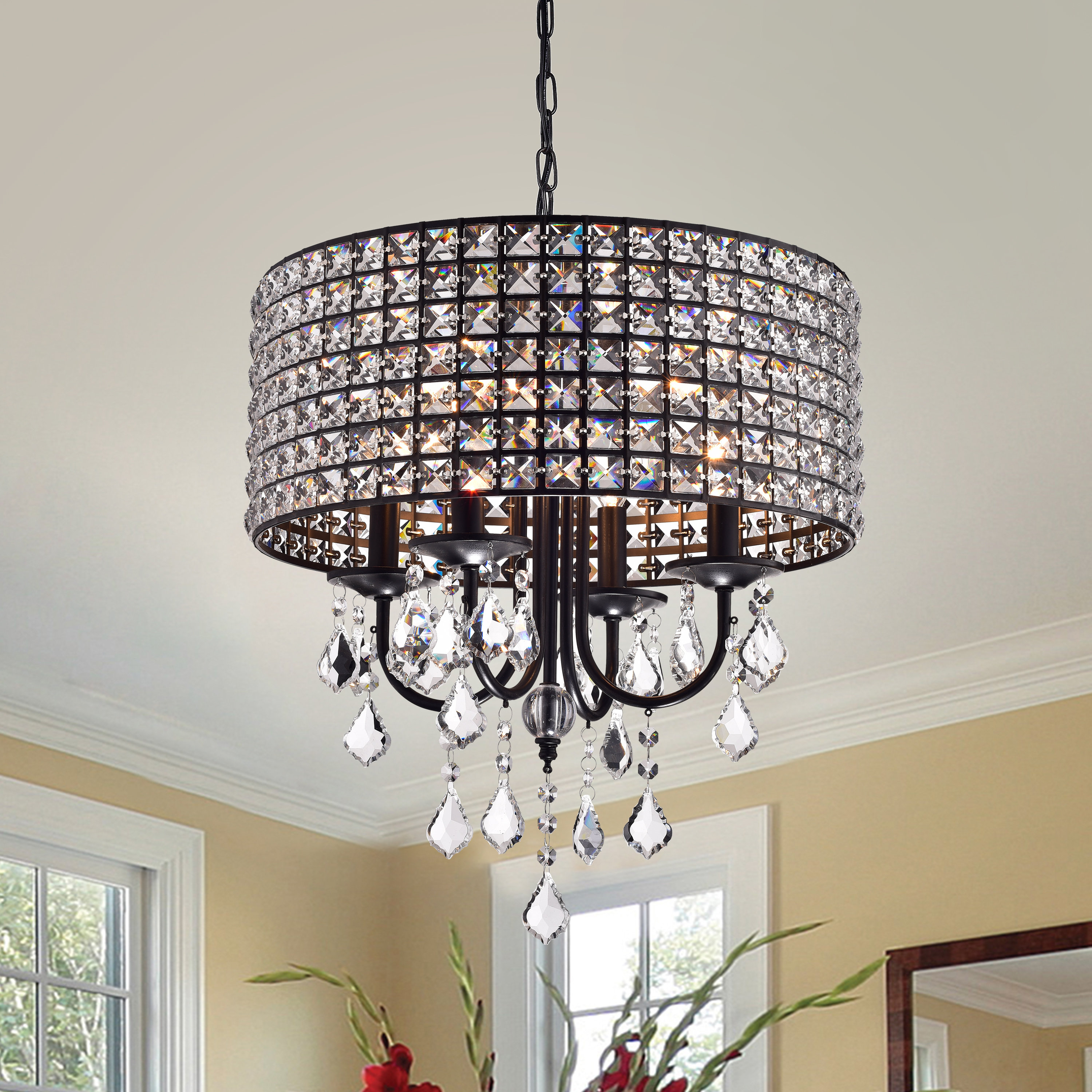 Well Liked Albano 4 Light Crystal Chandeliers Within Albano 4 Light Crystal Chandelier (Gallery 2 of 20)