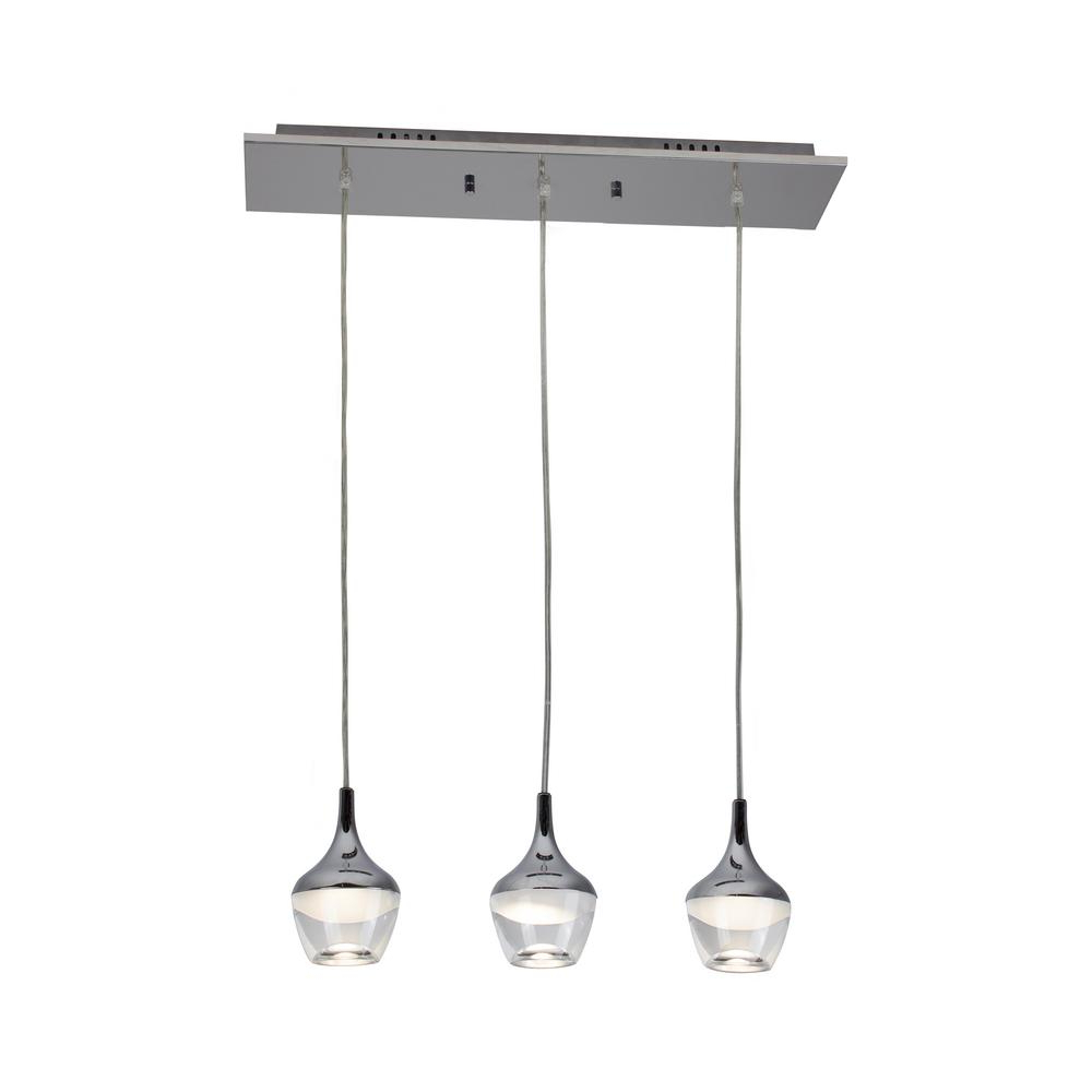 Well Liked Bazz Nexa Collection 75 Watt 3 Light Equivalent Chrome In Neal 5 Light Kitchen Island Teardrop Pendants (View 20 of 20)