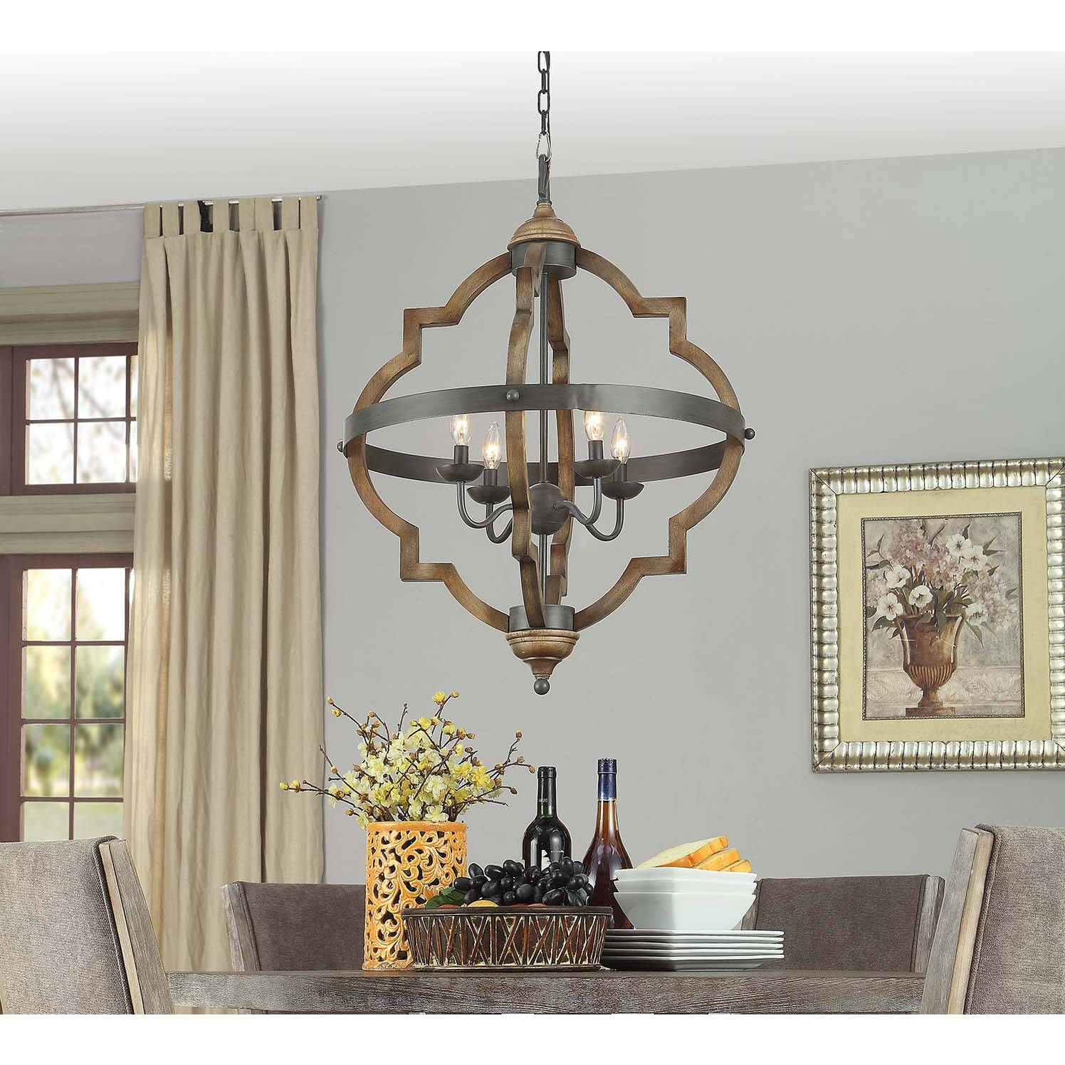 Well Liked Bennington 4 Light Candle Style Chandeliers Intended For Mason Quatrefoil 4 Light Chandelier (Distressed Mahagony (Gallery 12 of 20)