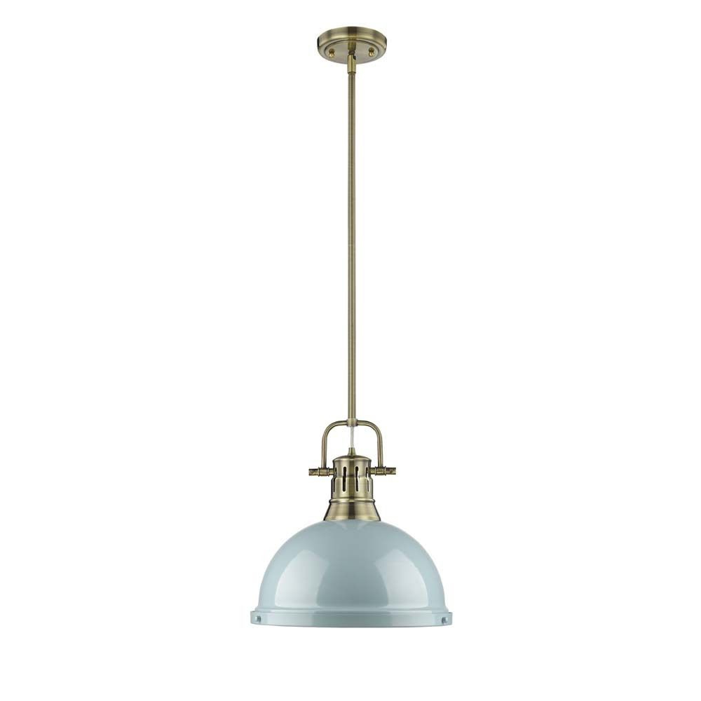 Well Liked Bodalla 1 Light Single Dome Pendants Within Golden Lighting Duncan Aged Brass Rod/seafoam Shade 1 Light (View 9 of 20)