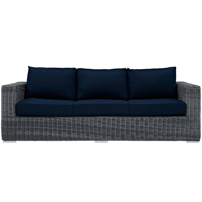 Well Liked Camak Patio Loveseats With Cushions In Keiran Patio Sofa With Cushions (Gallery 11 of 20)