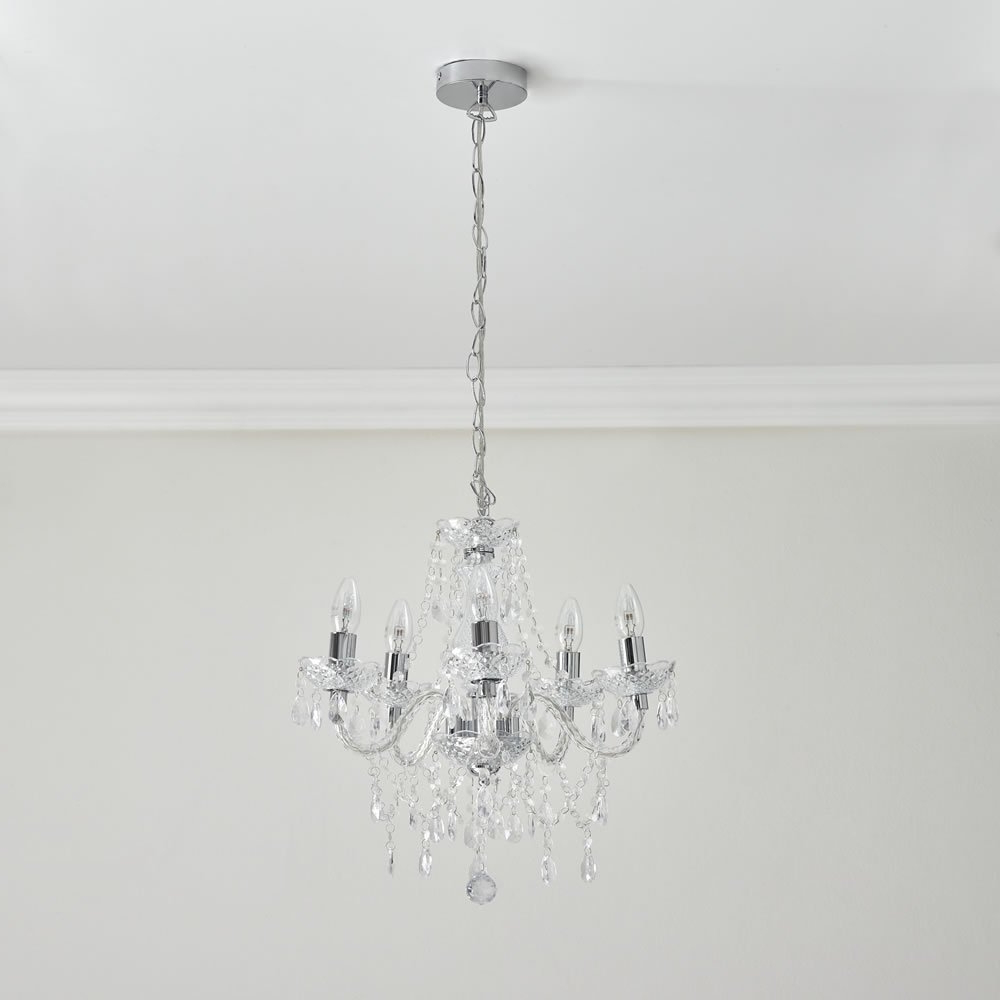 Well Liked Emaria 4 Light Unique / Statement Chandeliers Inside Wilko Marie Therese 5 Arm Clear Chandelier Ceiling Light (Gallery 19 of 20)