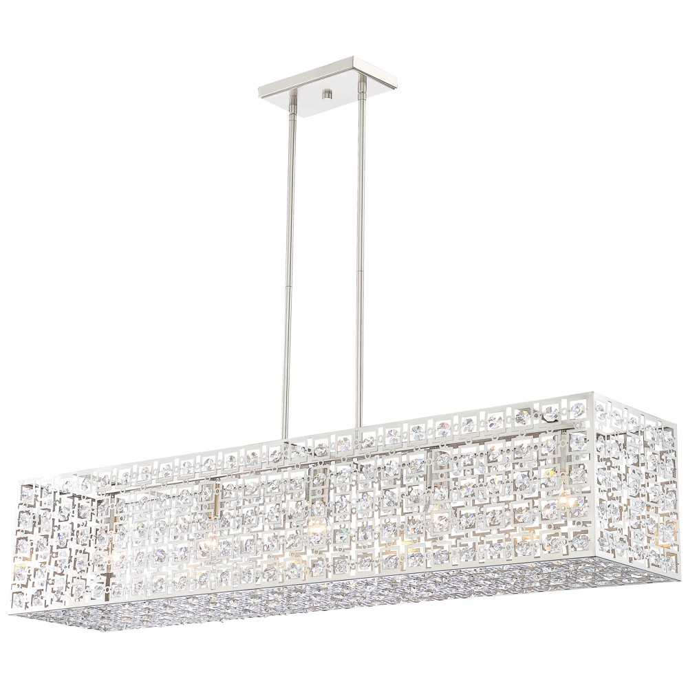 """Well Liked Gracelyn 8 Light Kitchen Island Pendants With Regard To Possini Euro Janine 46 3/4""""w Brushed Nickel Island Pendant (View 9 of 20)"""