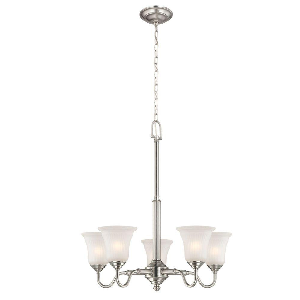 Well Liked Hayden 5 Light Shaded Chandeliers For Hampton Bay 5 Light Brushed Nickel Chandelier With Frosted Glass Shades (View 17 of 20)