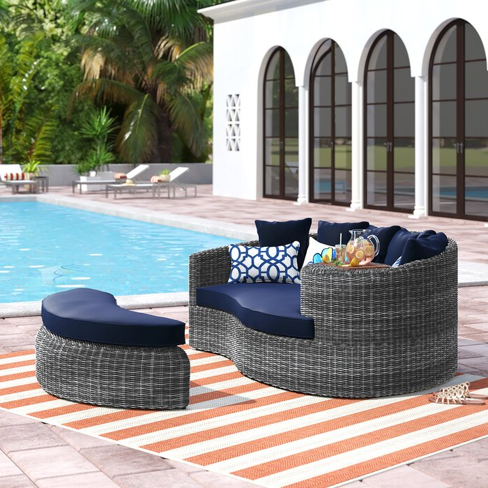 Well Liked Keiran Patio Daybed With Cushions In Lammers Outdoor Wicker Daybeds With Cushions (View 18 of 20)