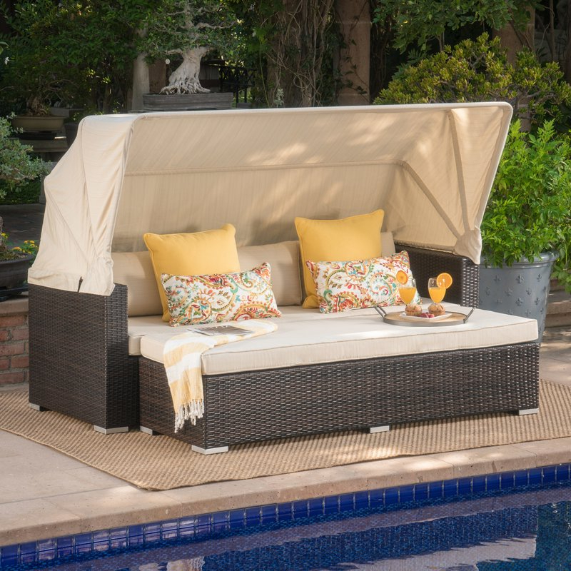 Well Liked Lammers Outdoor Wicker Daybeds With Cushions Regarding Lammers Outdoor Wicker Daybed With Cushions (View 20 of 20)