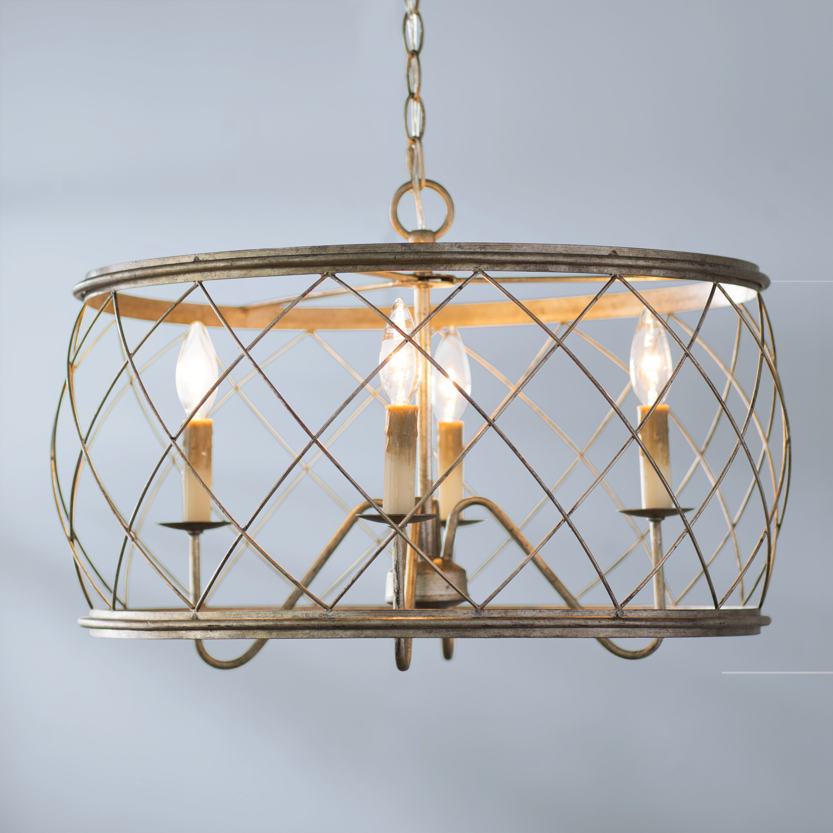 Well Liked Laurel Foundry Modern Farmhouse Ryne 4 Light Drum Pendant Inside Nisbet 4 Light Lantern Geometric Pendants (View 18 of 20)