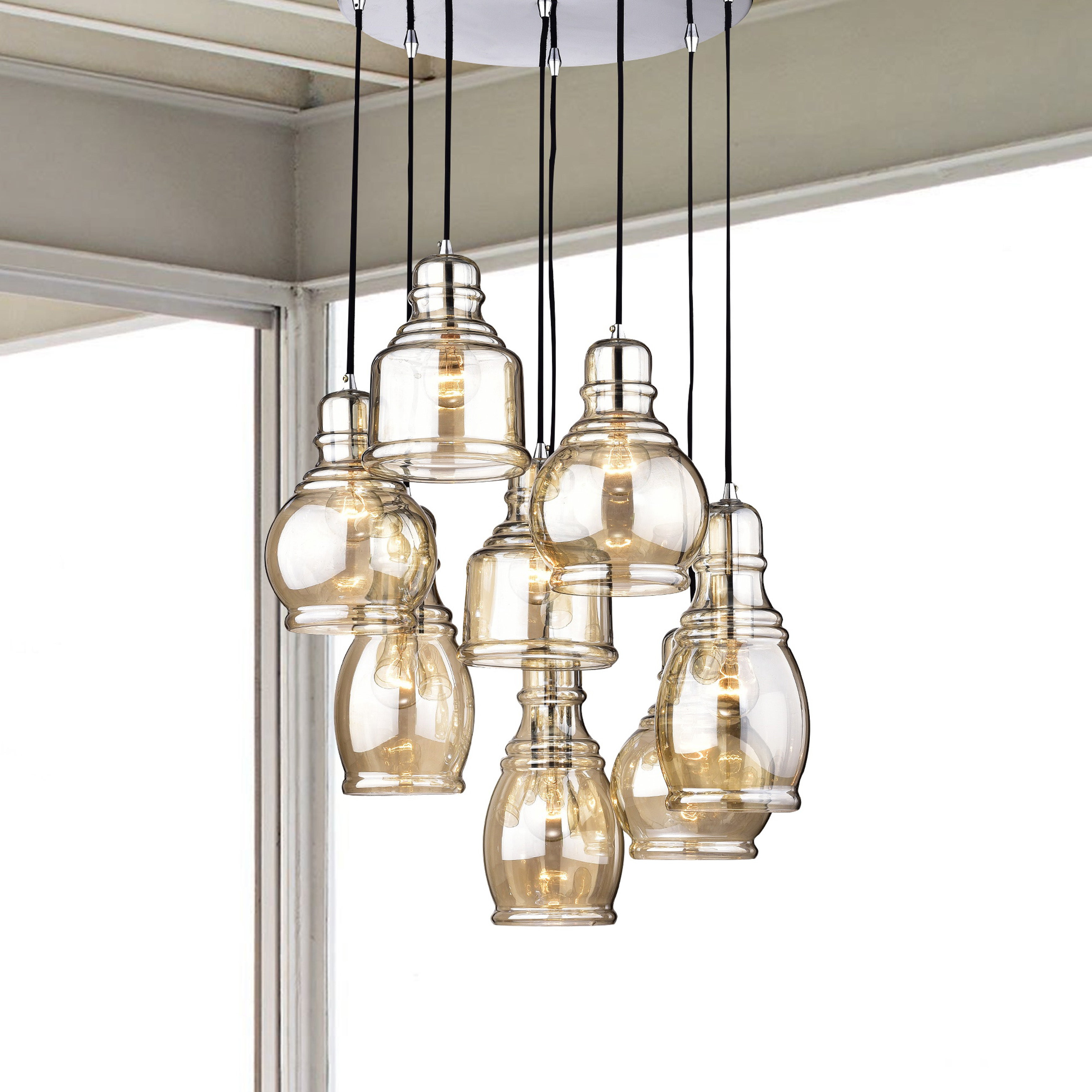 Well Liked Mariana 8 Light Cognac Glass Cluster Pendant Chandelier With Chrome Finish  And Round Base For Pruett Cognac Glass 8 Light Cluster Pendants (View 18 of 20)