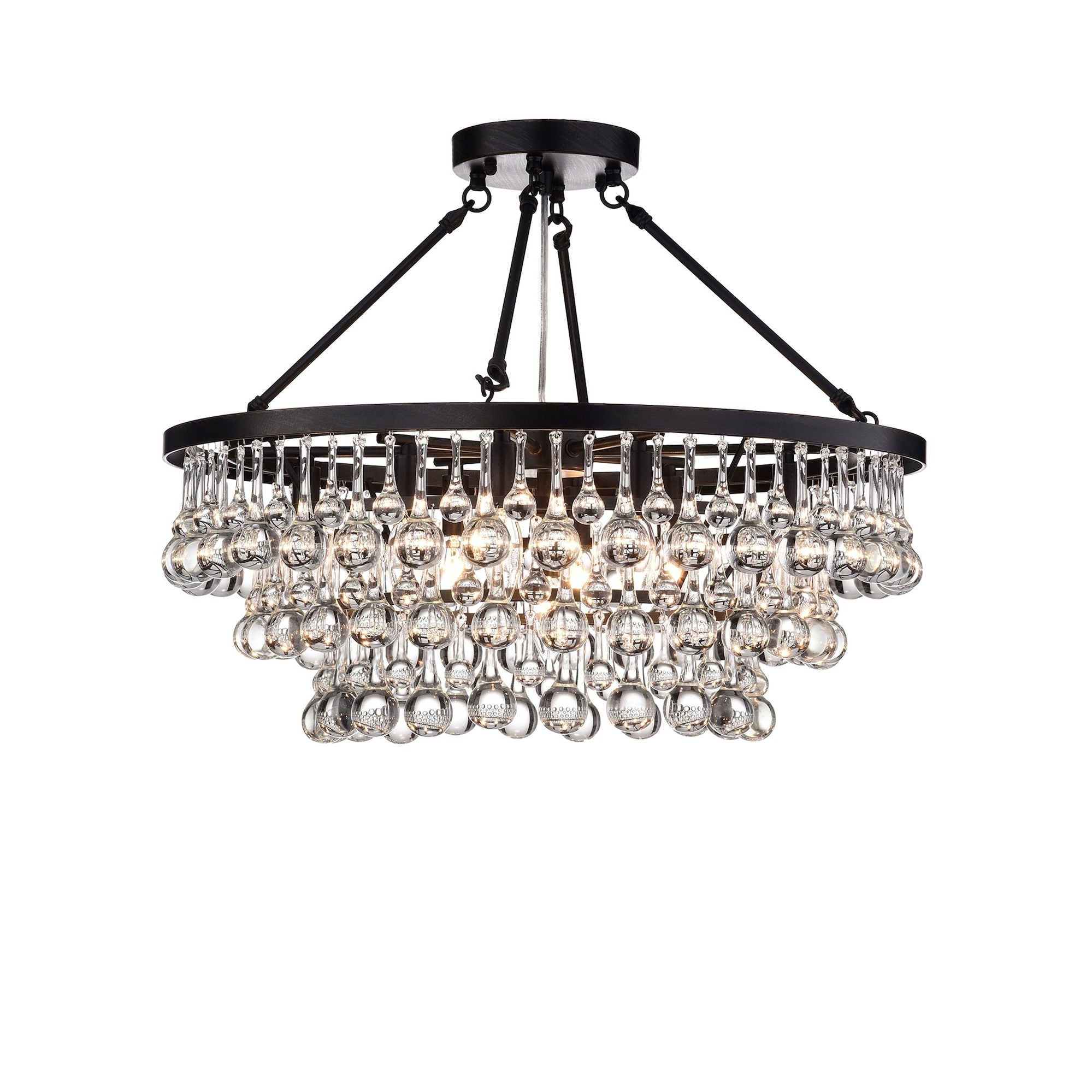 Well Liked Mcknight 9 Light Chandeliers Within Arosa 9 Light Black Semi Flush Mount (View 20 of 20)