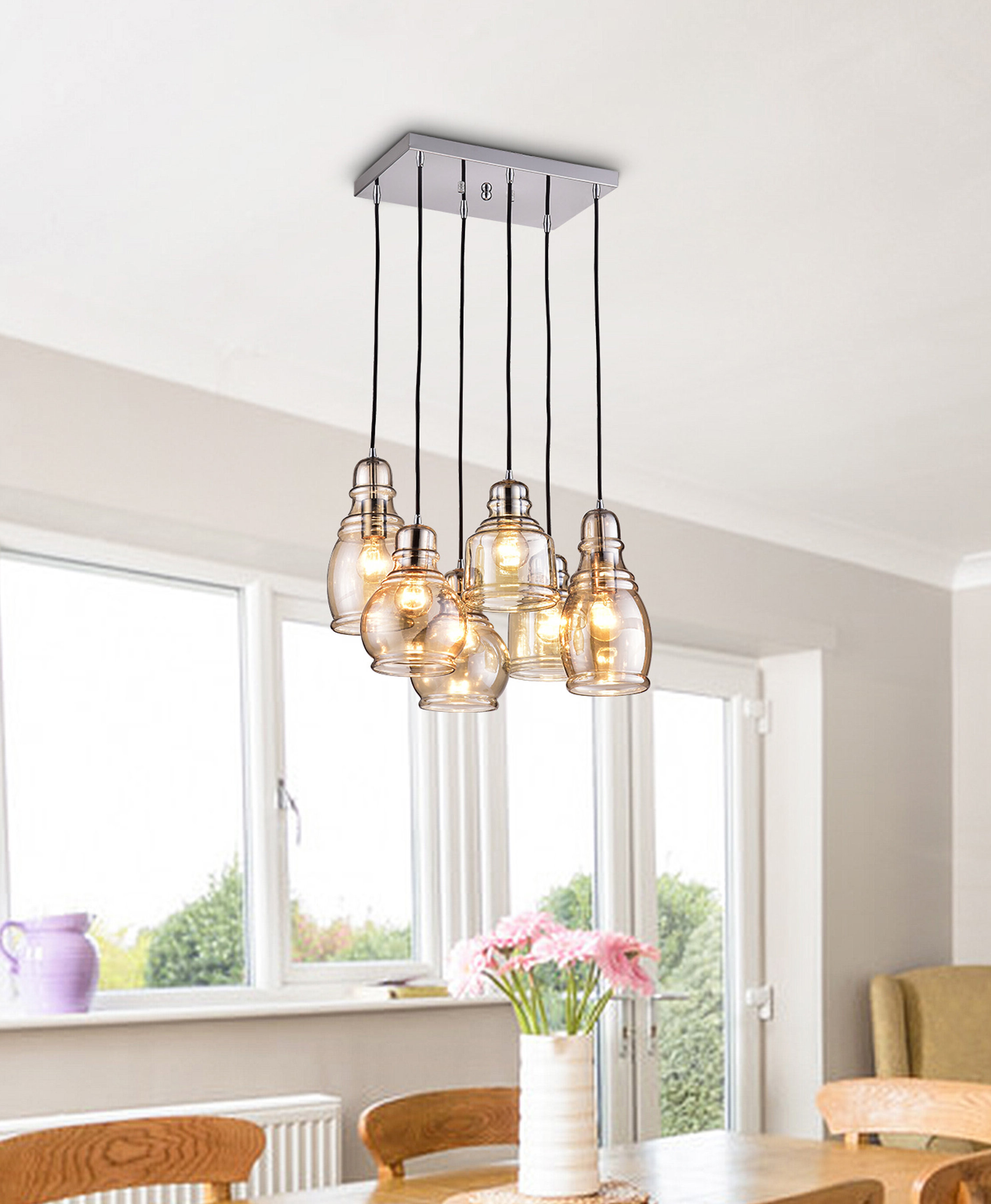 Well Liked Pruett 6 Light Cluster Bell Pendant Throughout Pruett Cognac Glass 8 Light Cluster Pendants (View 19 of 20)