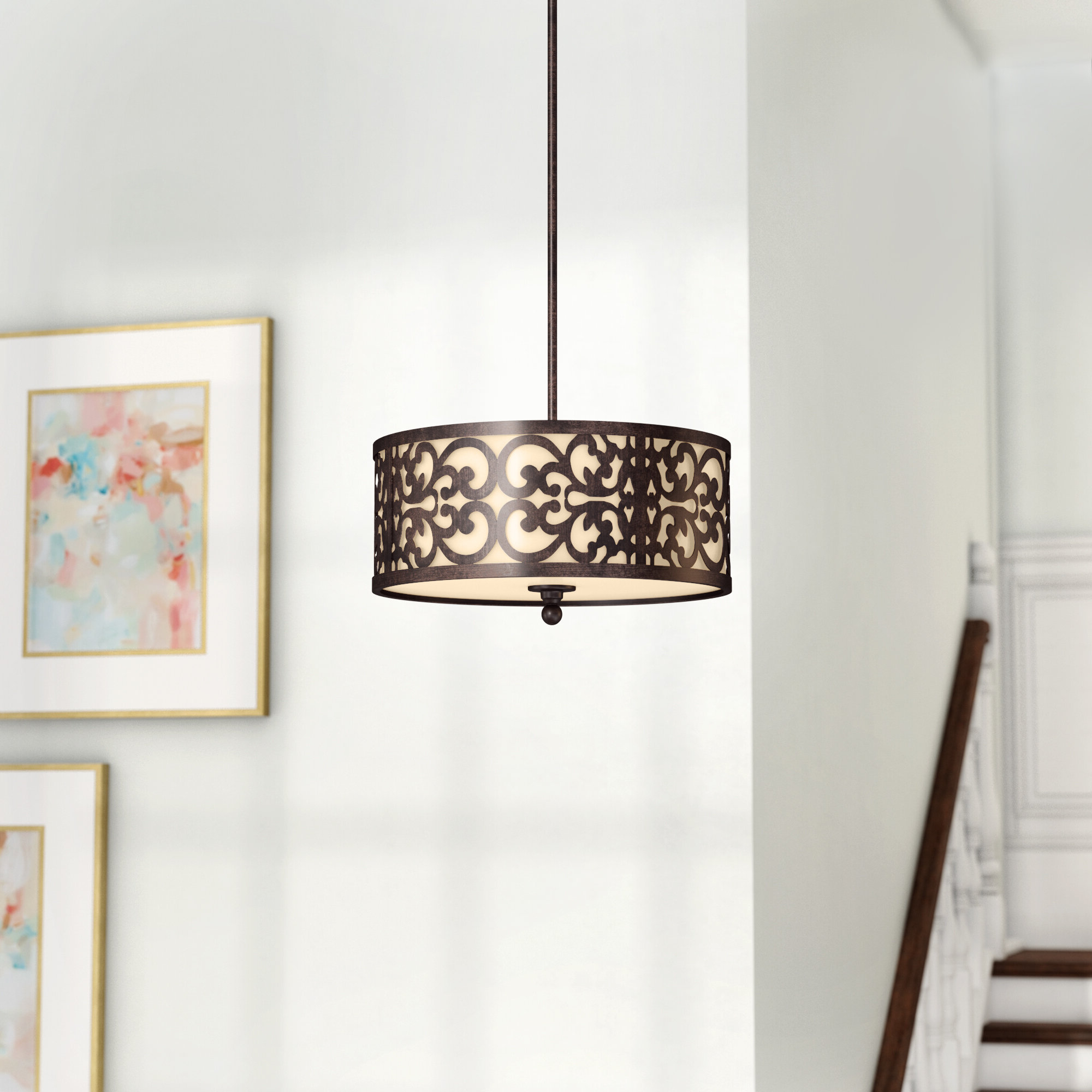 Well Liked Tadwick 3 Light Single Drum Chandeliers With Regard To Aegean 3 Light Single Drum Pendant (Gallery 3 of 20)