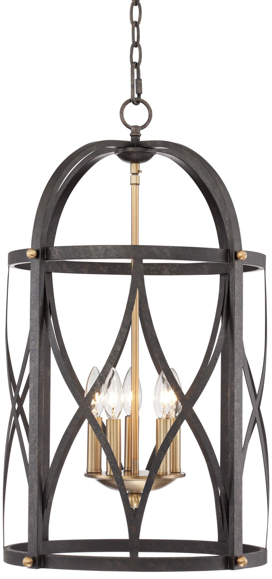Well Liked Torrison 5 Light 16' Wide Dark Bronze Foyer Chandelier Throughout Nisbet 4 Light Lantern Geometric Pendants (View 19 of 20)