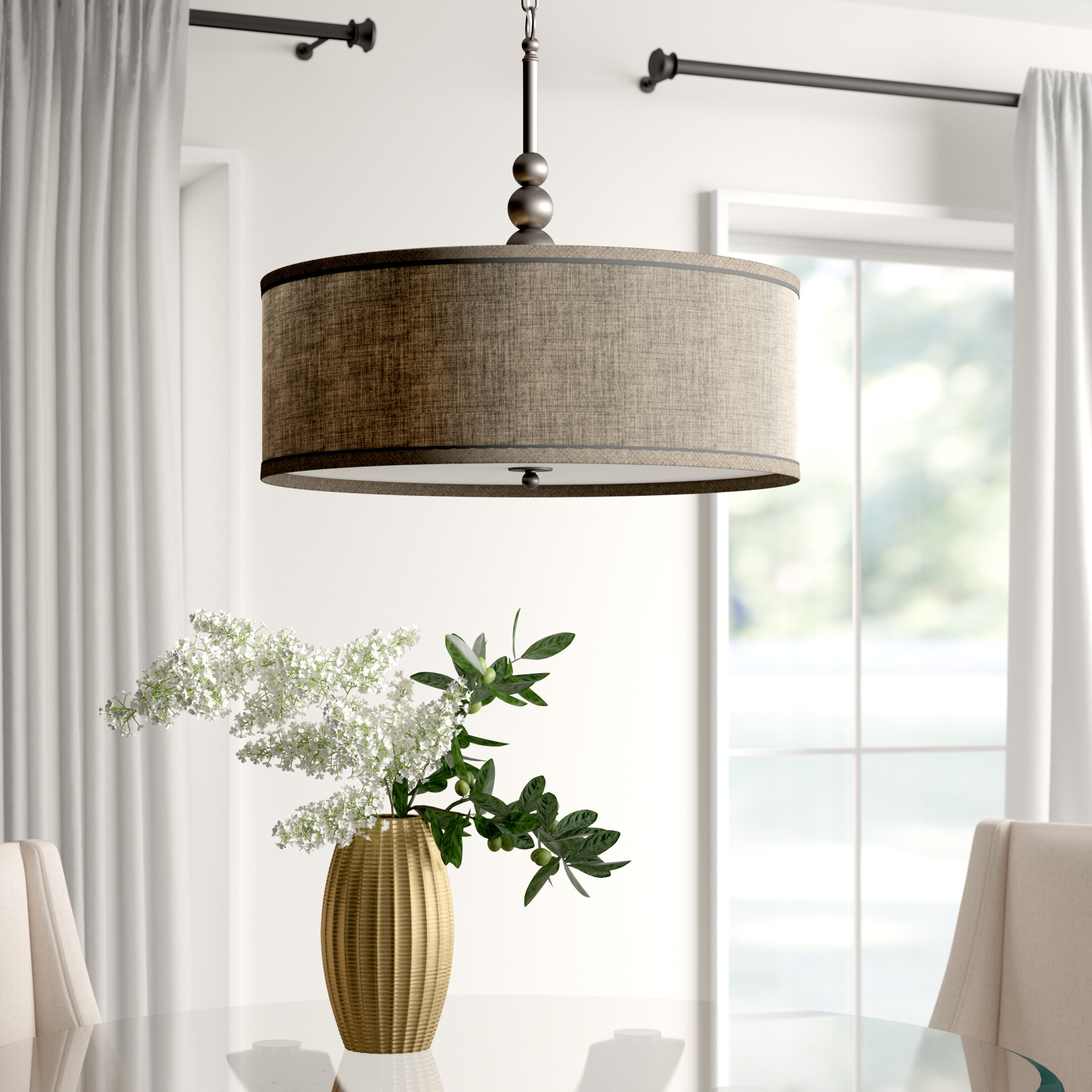 Well Liked Wade Logan Burslem 3 Light Single Drum Pendant & Reviews For Burslem 3 Light Single Drum Pendants (View 3 of 20)