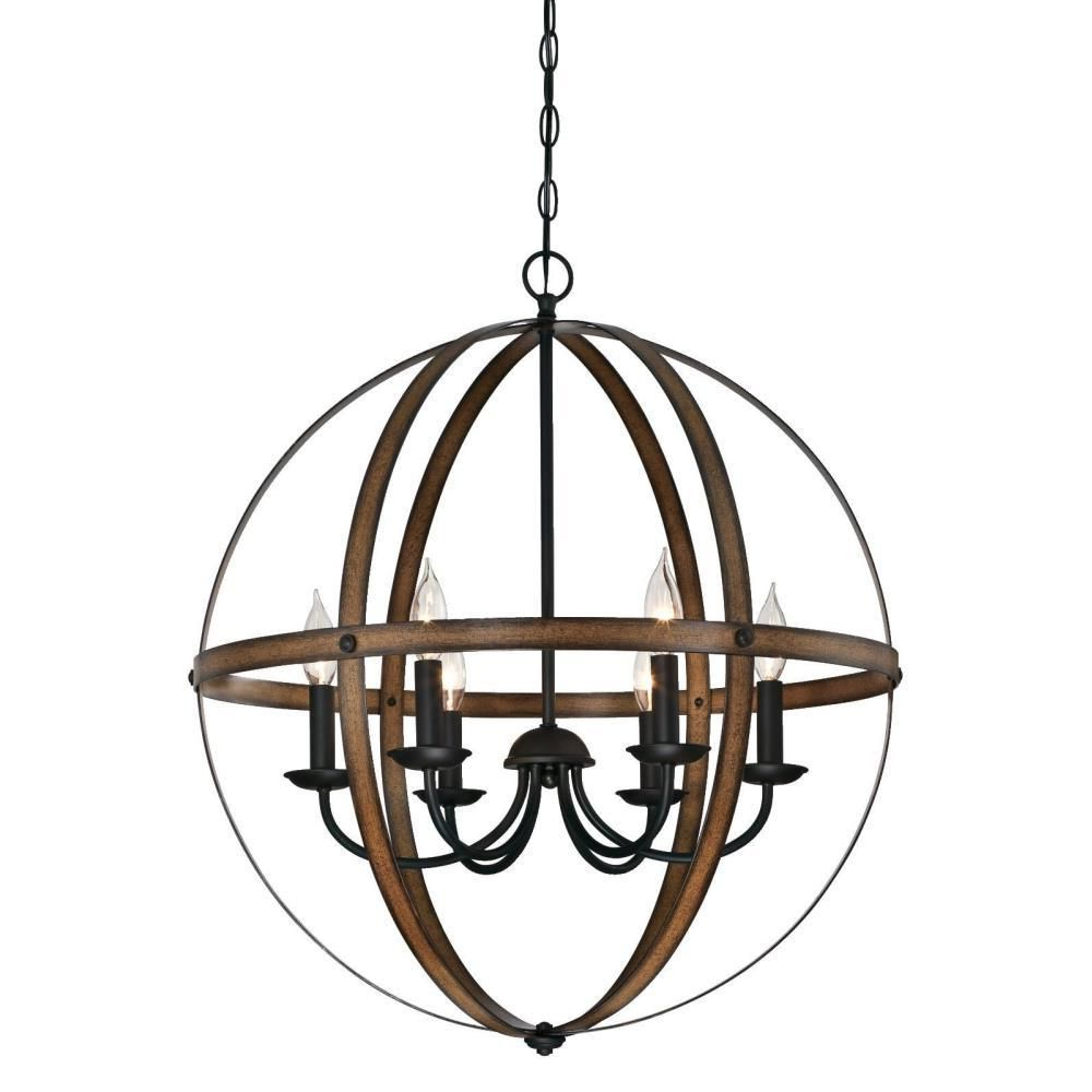 Westinghouse Stella Mira 6 Light Barnwood And Oil Rubbed Intended For Recent Alden 6 Light Globe Chandeliers (Gallery 12 of 20)
