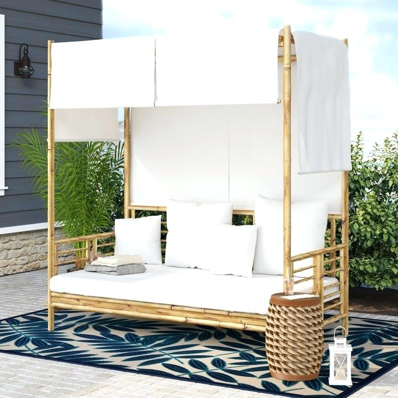 Wicker Daybed With Canopy – Chefnest.co With Fashionable Behling Canopy Patio Daybeds With Cushions (Gallery 10 of 20)