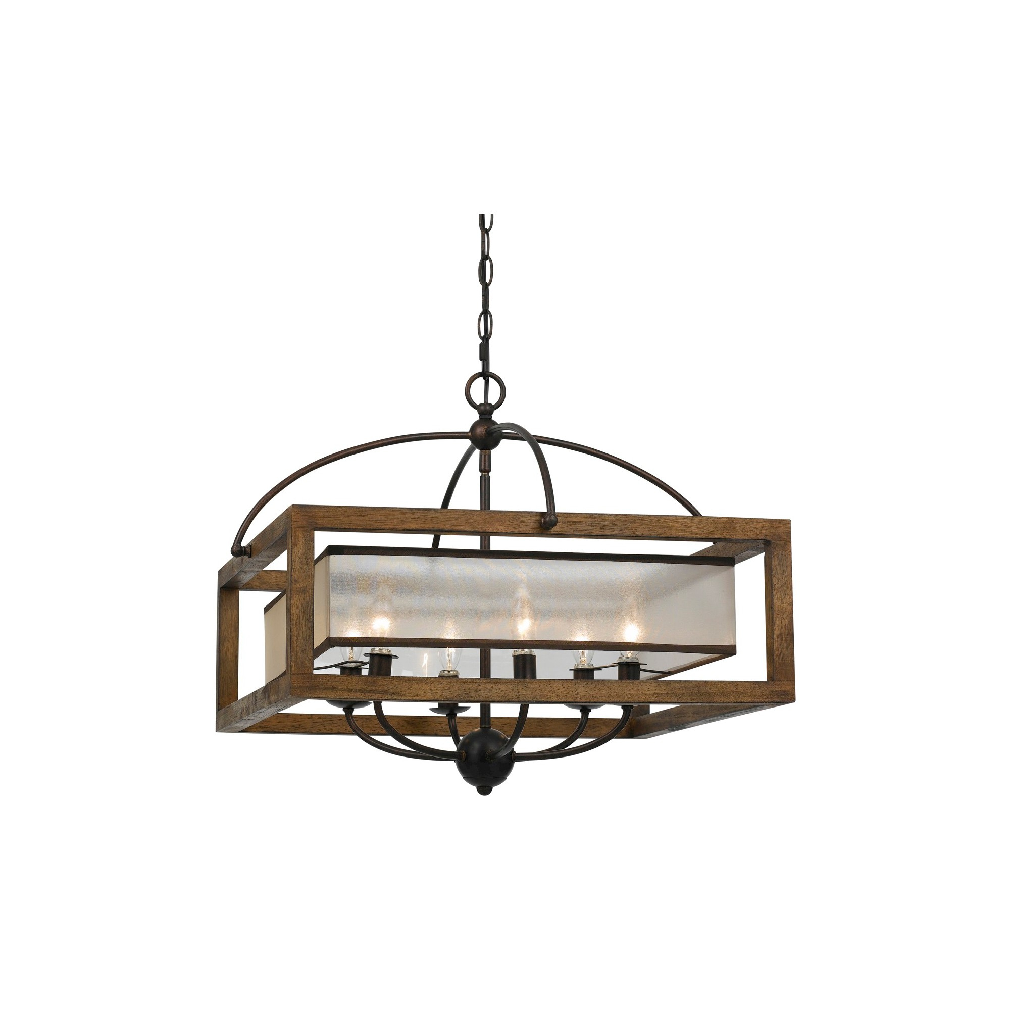 Widely Used Aadhya 5 Light Drum Chandeliers In Cal Lighting Mission Wood And Metal 6 Light Pendant (View 10 of 20)