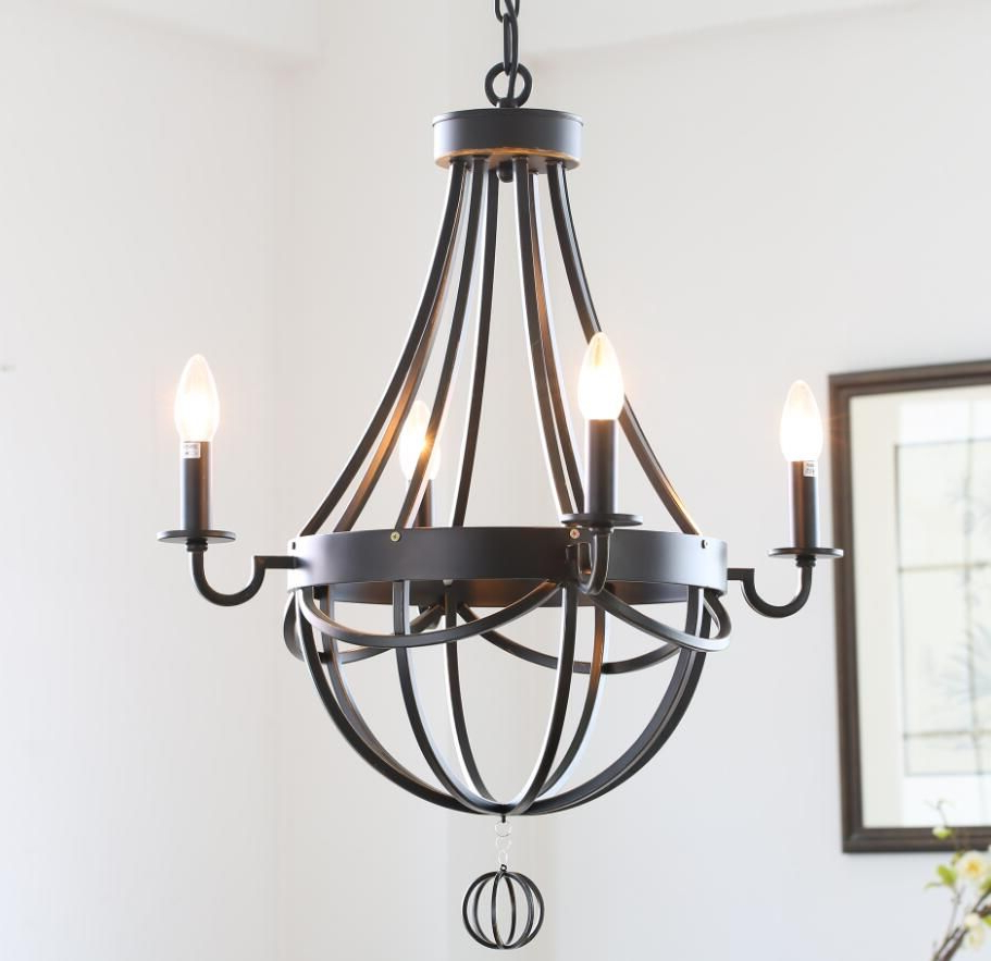 Widely Used American Country Style Antique Wrought Iron Paint Chandelier With Newent 5 Light Shaded Chandeliers (View 20 of 20)