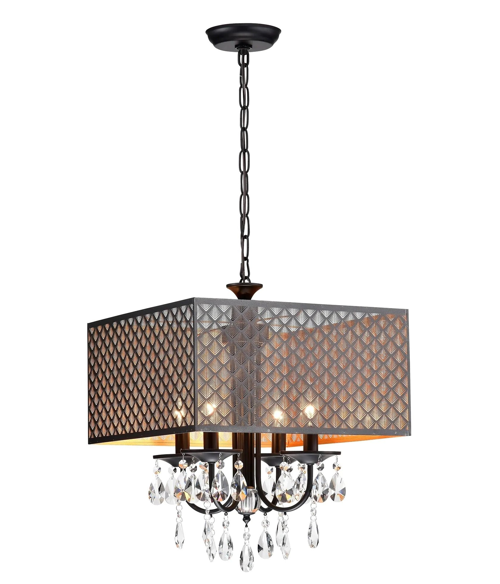 Widely Used Aurore 4 Light Crystal Chandeliers Regarding Mathers 4 Light Rectangle Chandelier (Gallery 18 of 20)