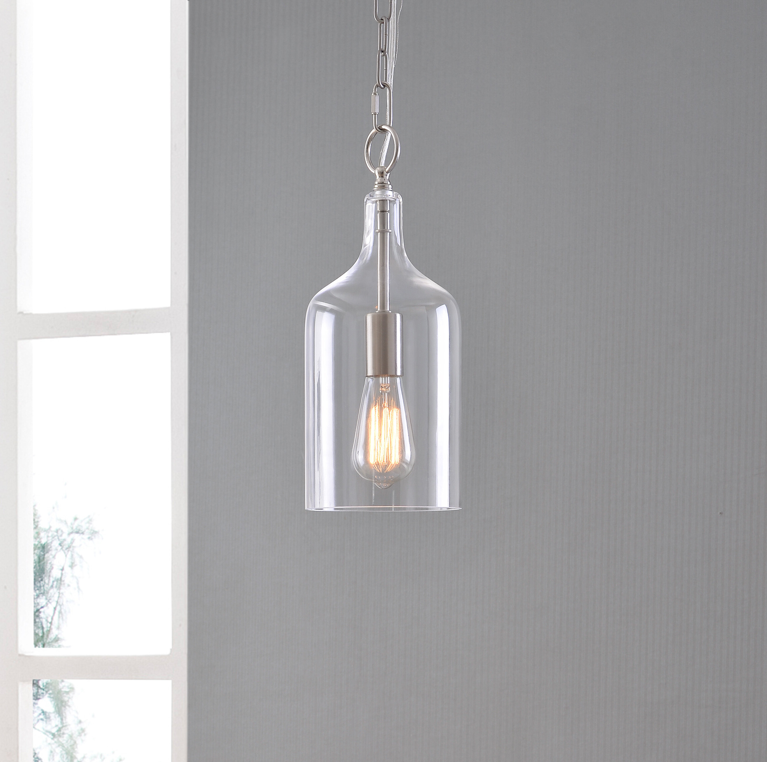 Widely Used Carey 1 Light Single Bell Pendants In Clematite 1 Light Geometric Pendant (View 20 of 20)