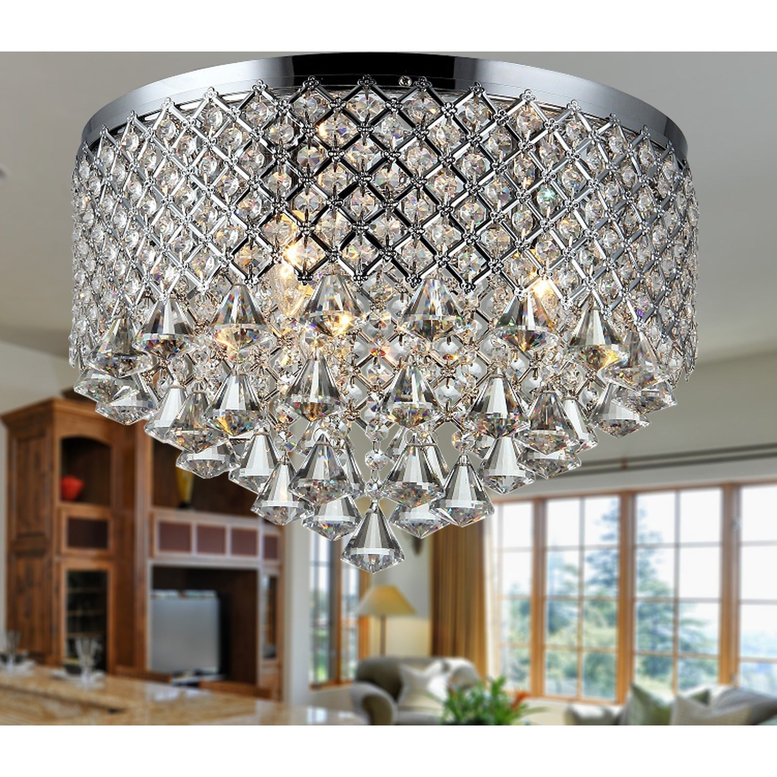 Widely Used Clea 3 Light Crystal Chandeliers With Regard To Trey 3 Light Chrome 16 Inch Crystal Flush Mount (View 20 of 20)