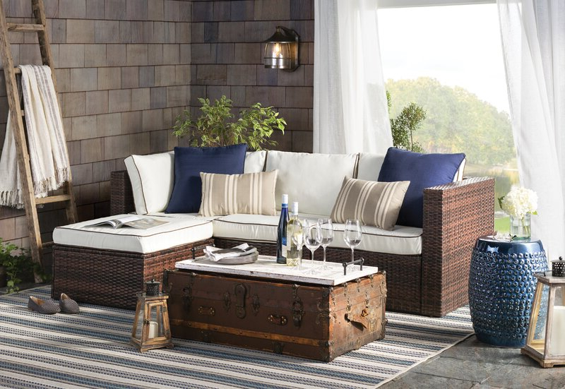 Widely Used Clifford Patio Sofas With Cushions Throughout Burruss Patio Sectional With Cushions (View 17 of 20)
