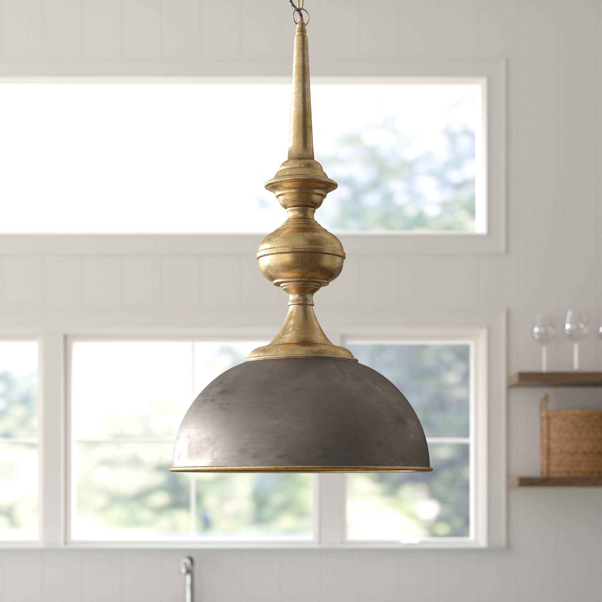 Widely Used Corrine 1 Light Single Dome Pendant Intended For Grullon Scroll 1 Light Single Bell Pendants (View 20 of 20)