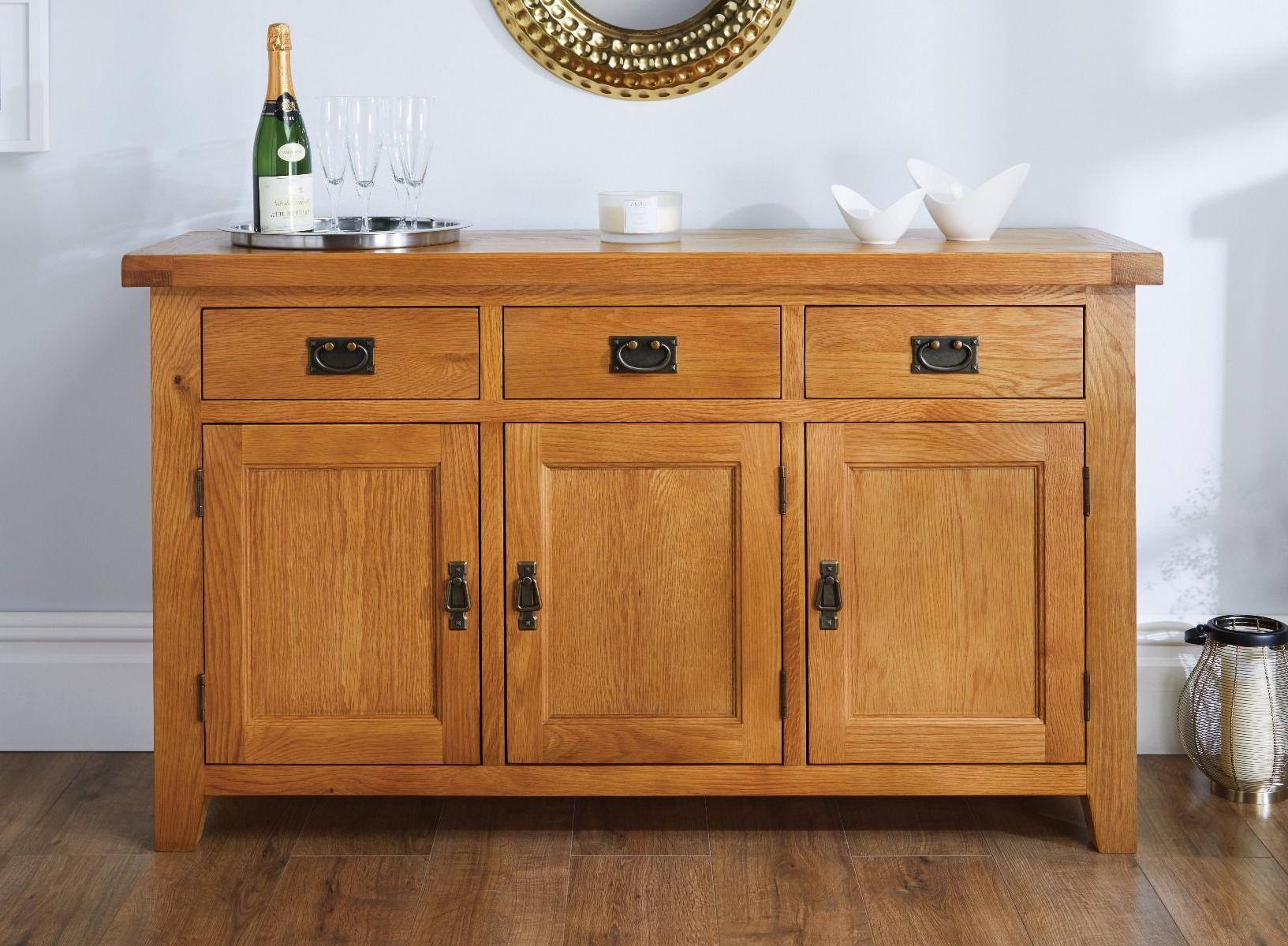 Widely Used Drummond 3 Drawer Sideboards In Country Oak 3 Door Medium Oak Sideboard (View 20 of 20)