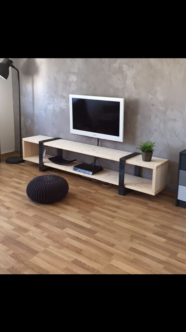 """Widely Used Ericka Tv Stands For Tvs Up To 42"""" Inside Diy Sideboard Industrial Low Board Steel Stahl Holz Wood (View 20 of 20)"""