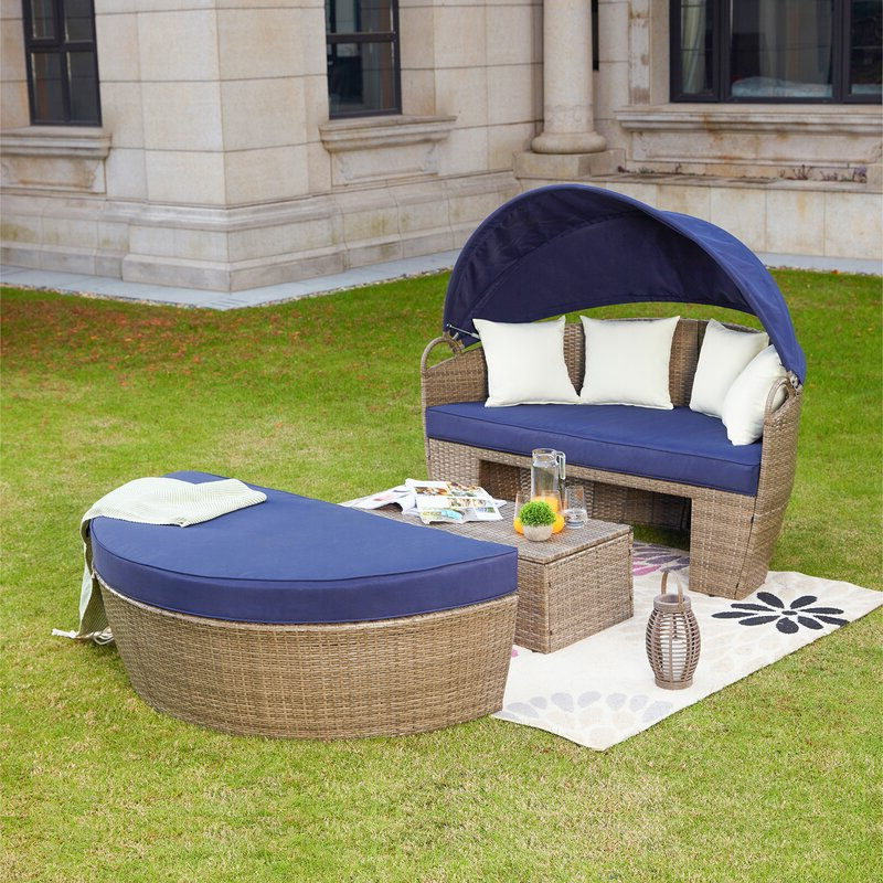 Widely Used Fansler Patio Daybed With Cushions Intended For Beal Patio Daybeds With Cushions (View 6 of 20)