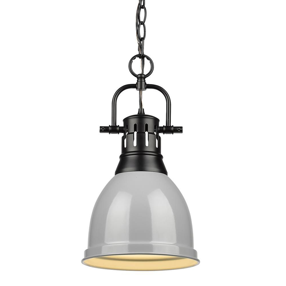 Widely Used Golden Lighting Duncan 1 Light Black Pendant And Chain With Pertaining To Yarger 1 Light Single Bell Pendants (View 17 of 20)