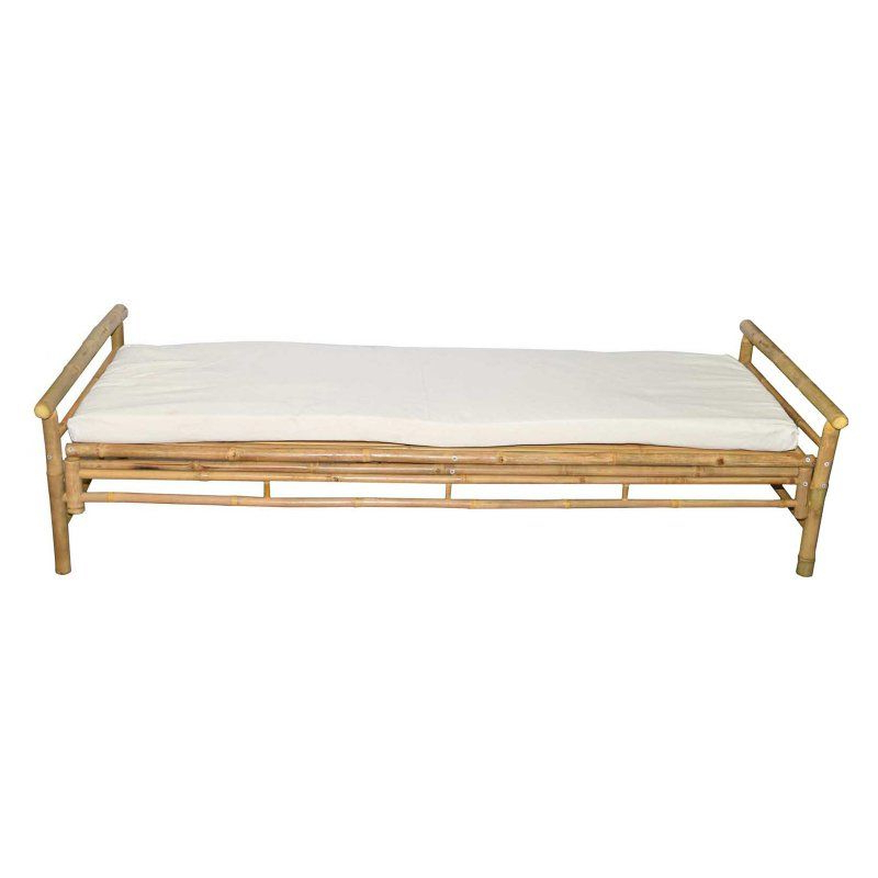 Widely Used Grosvenor Bamboo Patio Daybeds With Cushions Intended For Outdoor Bamboo54 Bamboo Flat Lounger Bench With White (View 5 of 20)