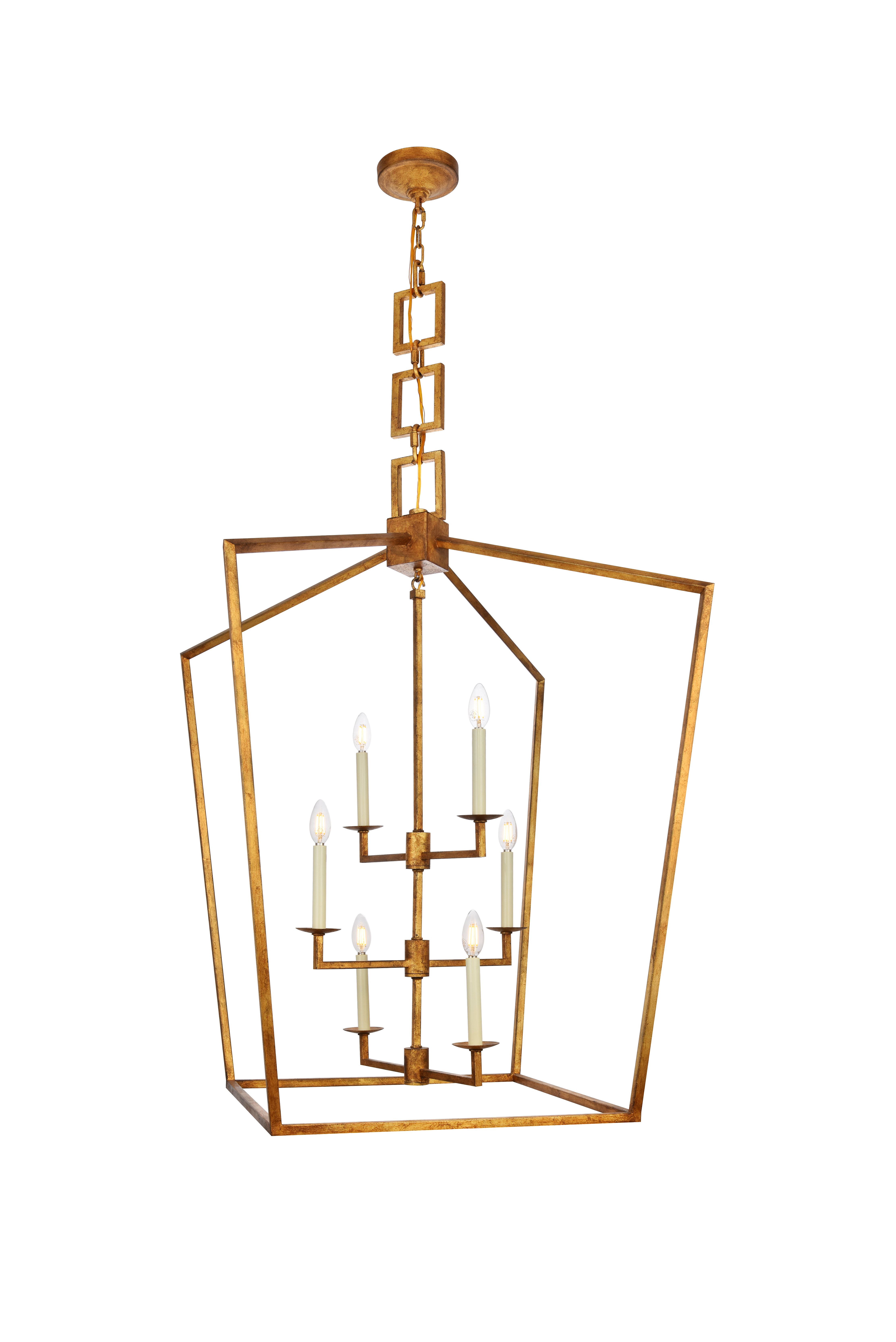 Widely Used Isoline 2 Light Lantern Geometric Pendants With Tiana 6 Light Geometric Pendant (View 20 of 20)