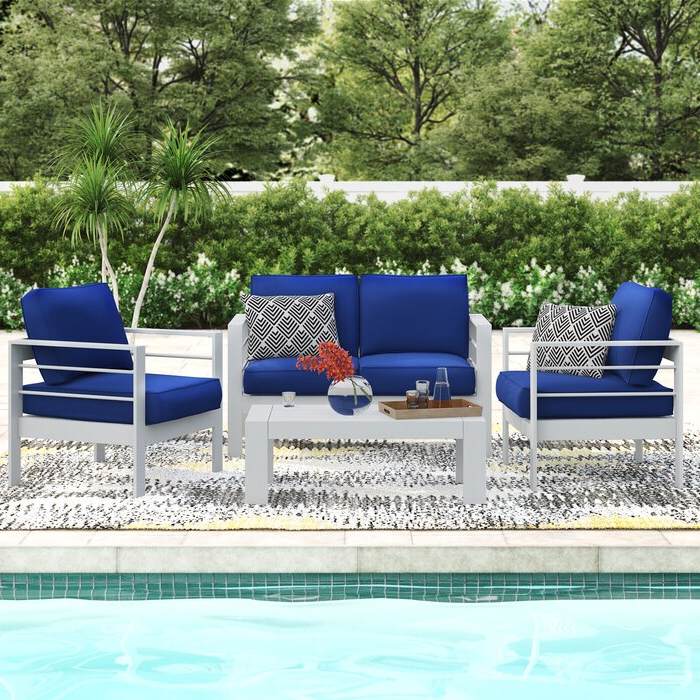 Widely Used Michal Patio Sofas With Cushions In Michal 4 Piece Sofa Seating Group With Cushions (View 20 of 20)