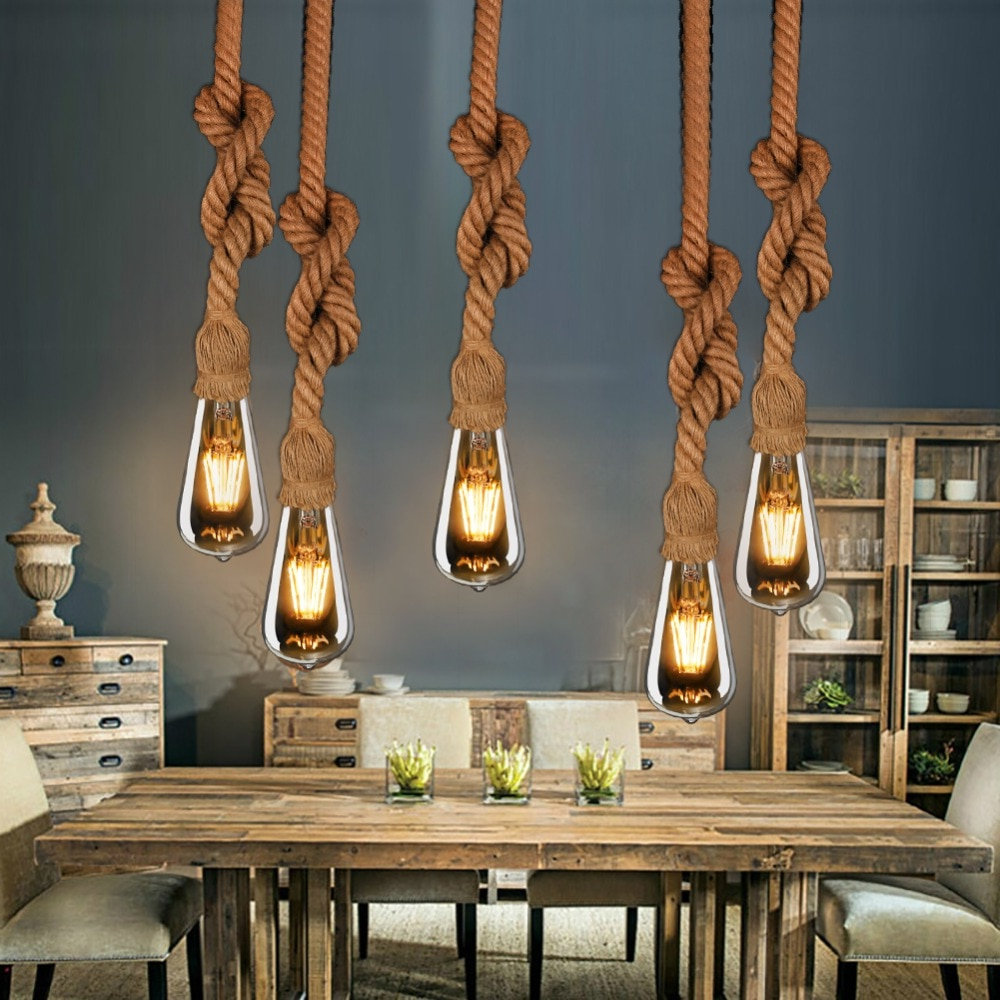 Widely Used Rossi Industrial Vintage 1 Light Geometric Pendants In Vintage Bamboo Rope Pendant Lights E27 Led 6 Bulbs Loft (View 20 of 20)