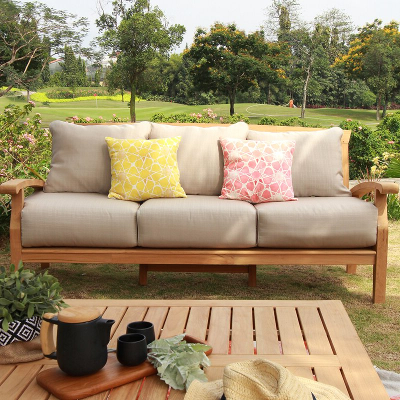 Widely Used Summerton Teak Patio Sofas With Cushions With Summerton Teak Patio Sofa With Cushions (View 3 of 20)