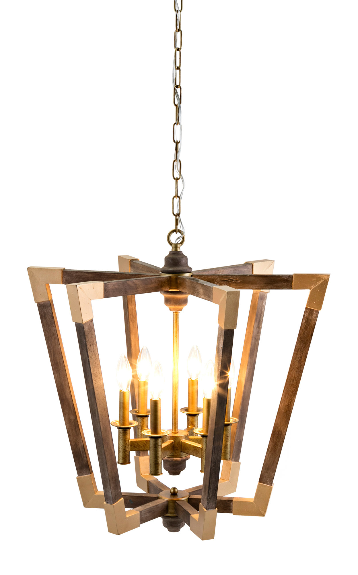 Widely Used Tiana 4 Light Geometric Chandeliers Throughout Westfall Wood 6 Light Geometric Chandelier (View 20 of 20)
