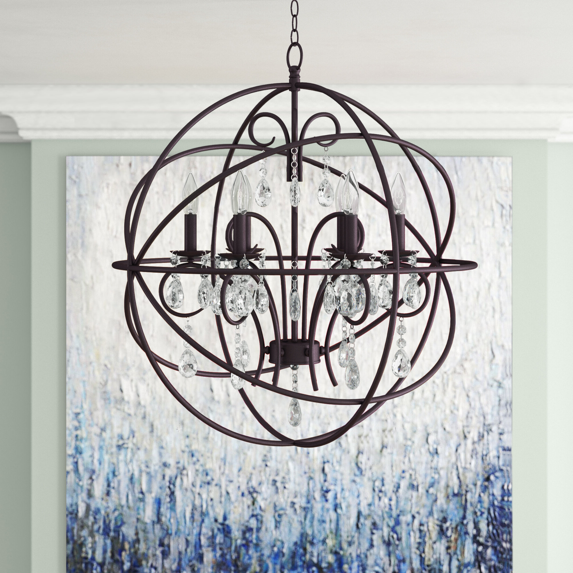 Willa Arlo Interiors Alden 6 Light Globe Chandelier Regarding Widely Used Eastbourne 6 Light Unique / Statement Chandeliers (Gallery 9 of 20)