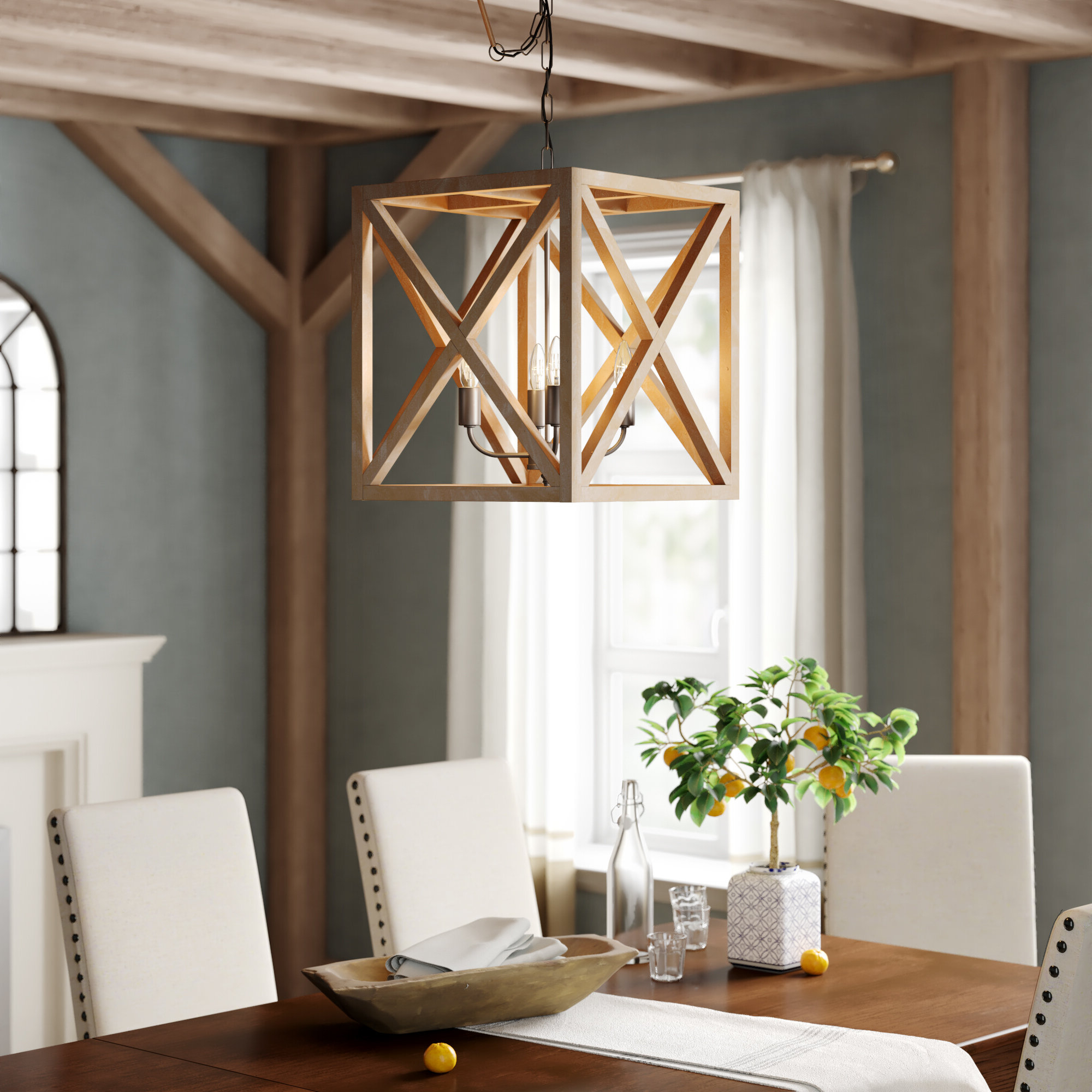 William 4 Light Lantern Square / Rectangle Pendants Pertaining To Most Up To Date Laurel Foundry Modern Farmhouse William 4 Light Lantern Square / Rectangle  Pendant (View 14 of 20)
