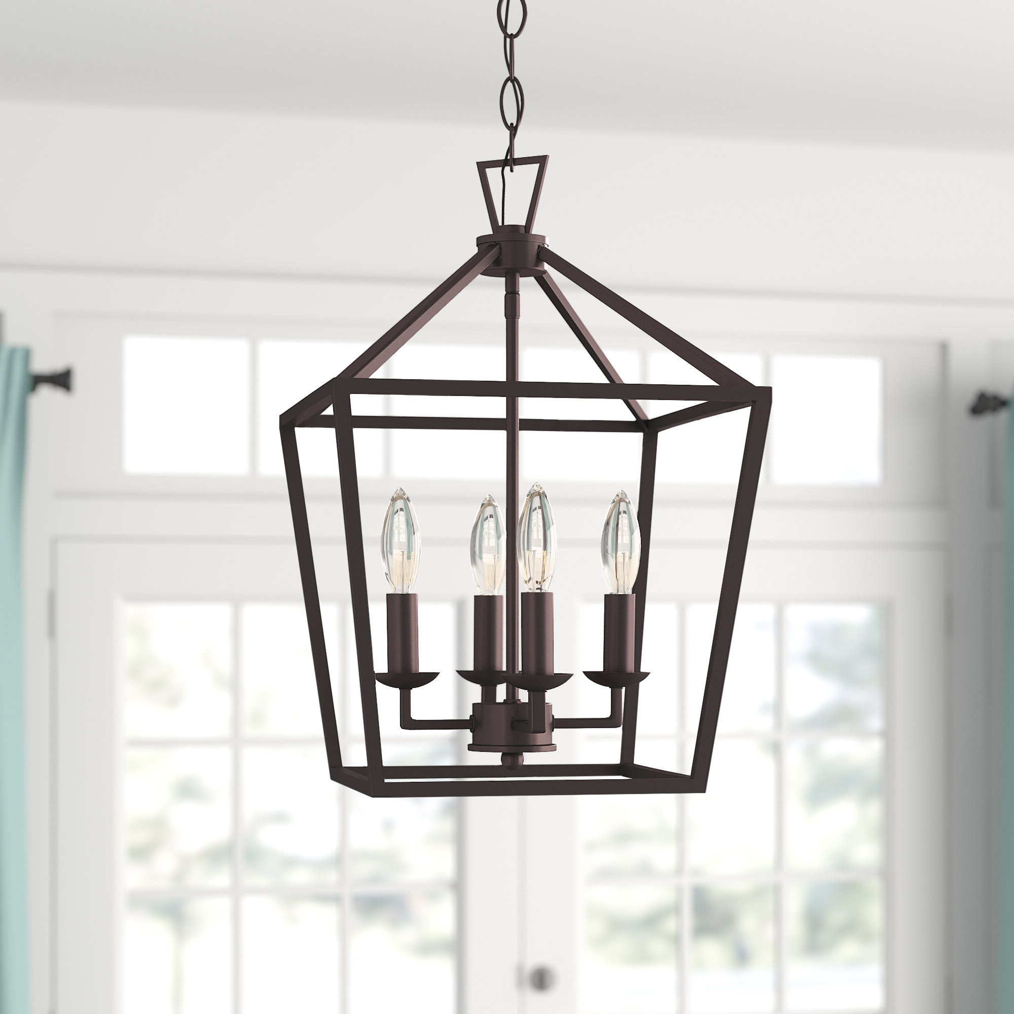 William 4 Light Lantern Square / Rectangle Pendants With Most Current Carmen 4 Light Lantern Geometric Pendant (View 18 of 20)