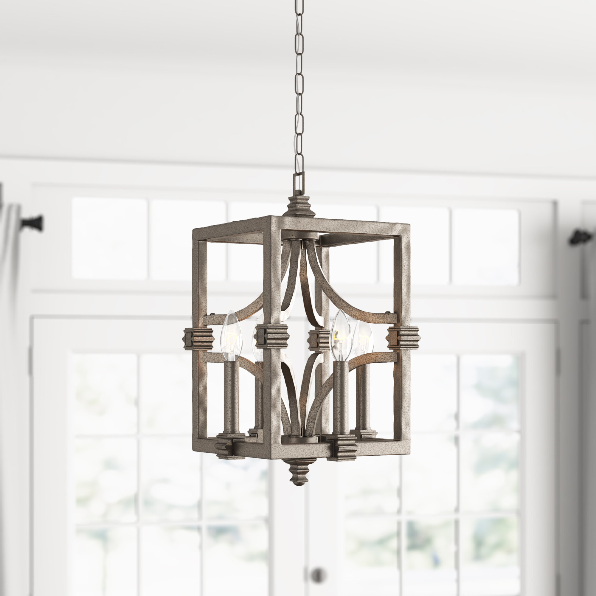 William 4 Light Lantern Square / Rectangle Pendants Within Most Popular Freeburg 4 Light Lantern Square / Rectangle Pendant (Gallery 2 of 20)