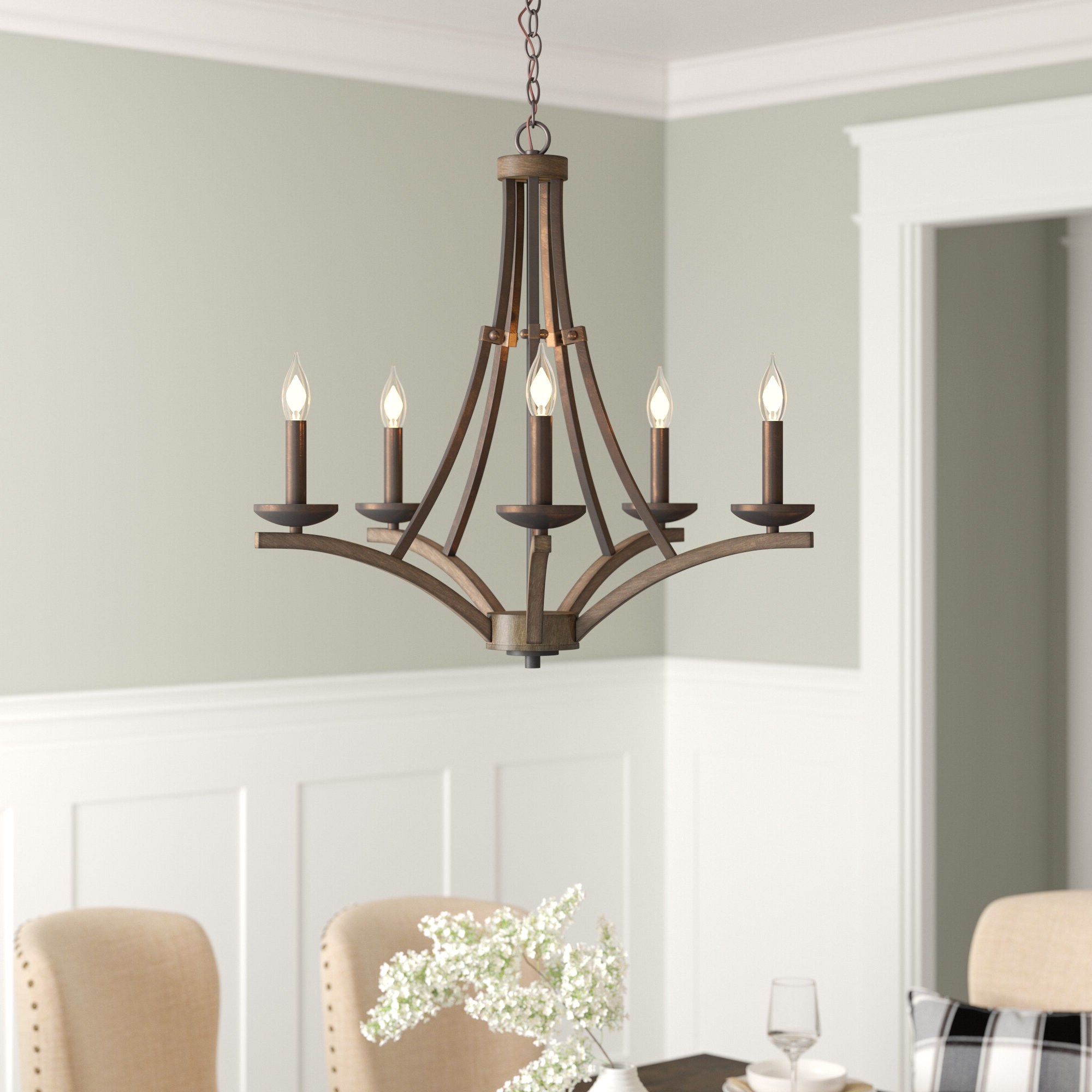 Wireman 5 Light Candle Style Chandelier Throughout 2019 Berger 5 Light Candle Style Chandeliers (View 11 of 20)