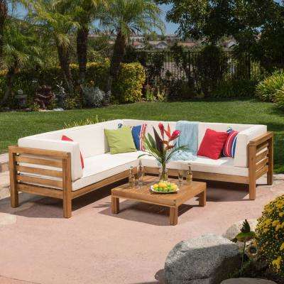 Wood – Patio Furniture – Outdoors – The Home Depot Throughout Most Up To Date Lakeland Teak Patio Sofas With Cushions (View 15 of 20)