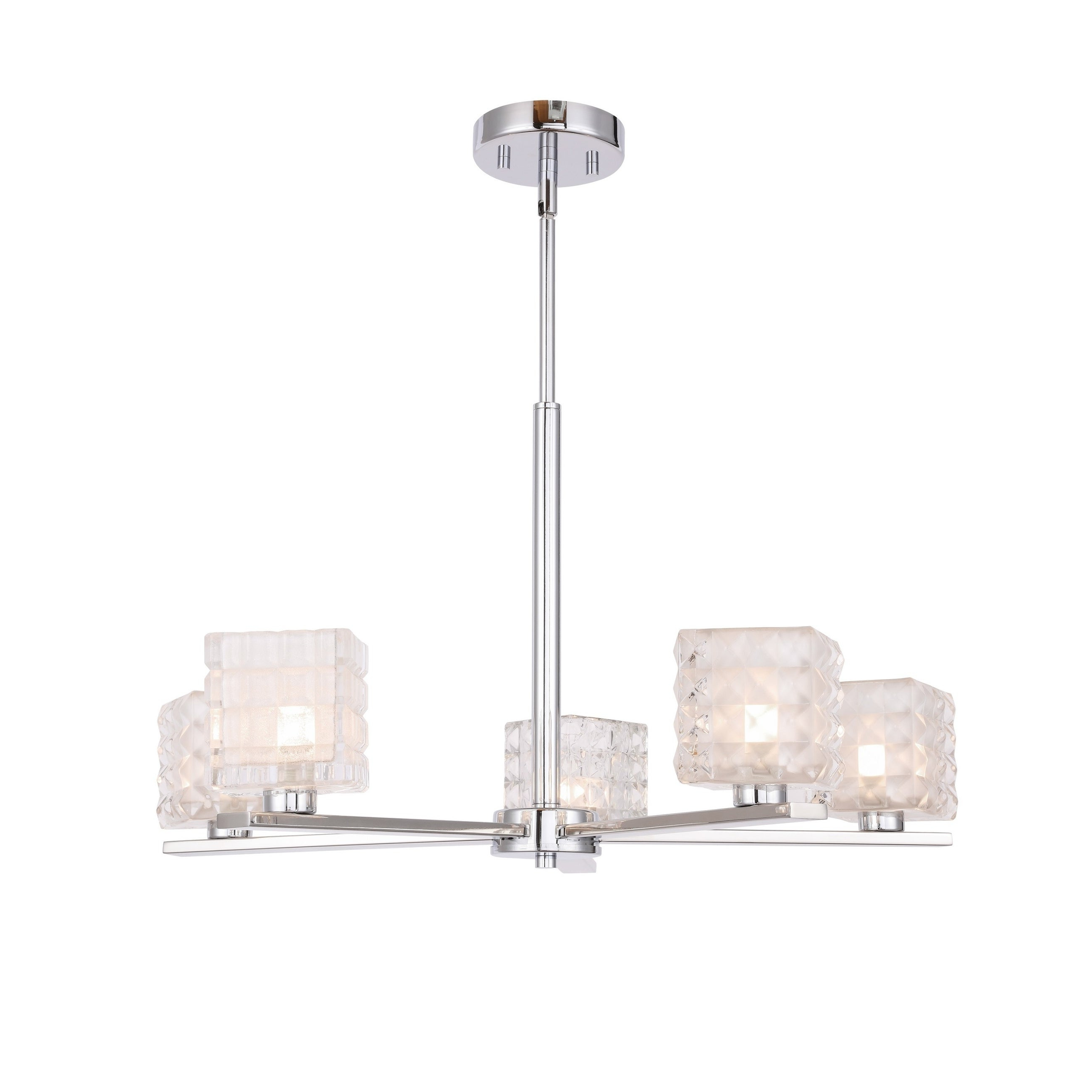 Woodbridge 17315Chrle Claudia 5L Chandelier W/ Led For Trendy Hewitt 4 Light Square Chandeliers (View 11 of 20)